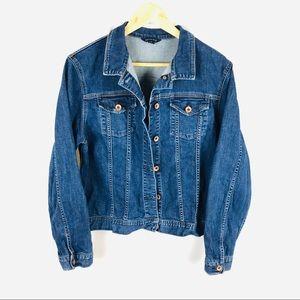 Lands End jean jacket stretch blue denim